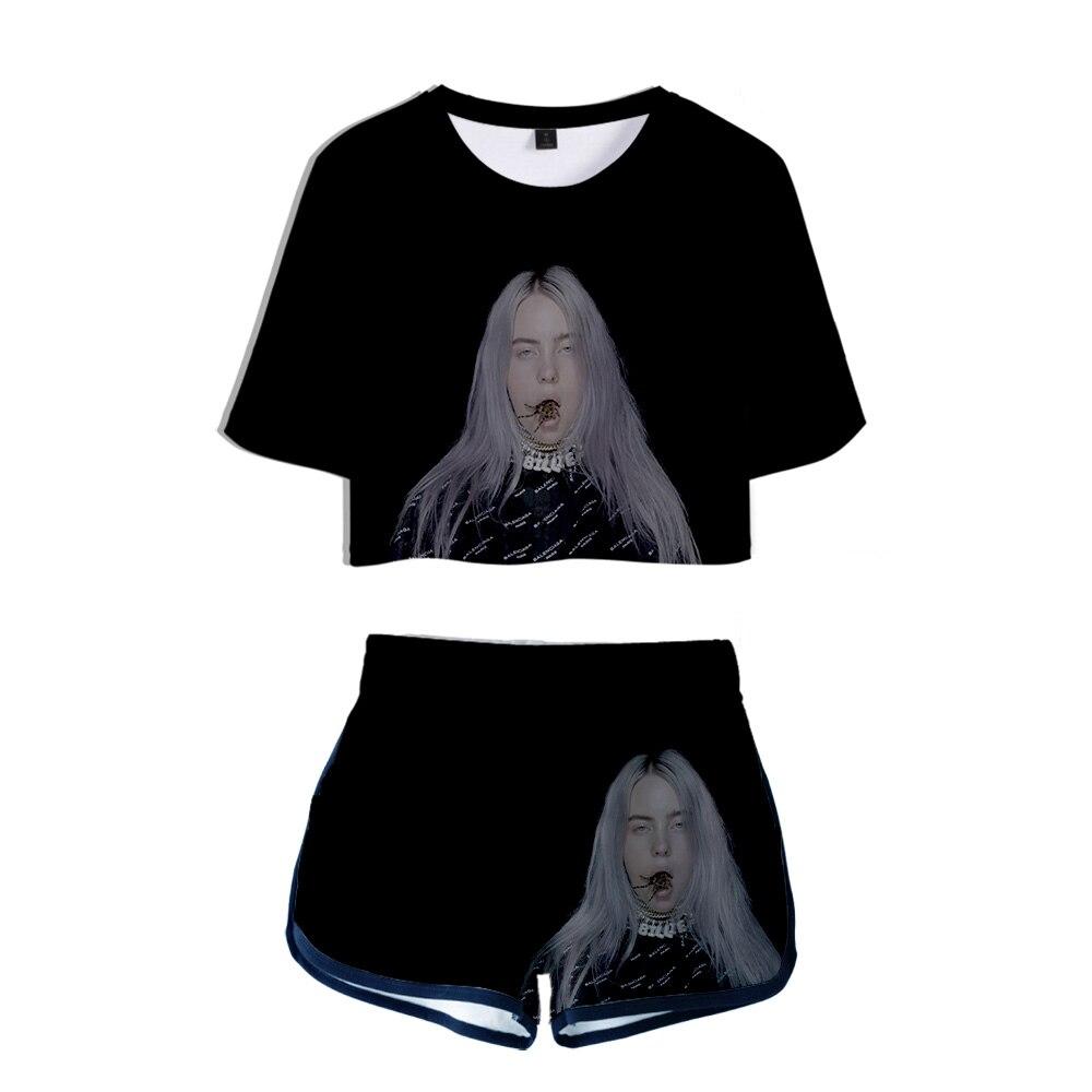 Billie Eilish Short T-shirt Short Pants Women Mini Shorts Summer Cool And Breathable Two Piece Set Streetwear Fashion 3D T-shirt