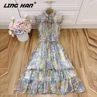 LINGHAN Vacation Print Silk Midi Dress Elegant Ruffles Sashes fashion Tank Dresses Designer Spring Summer New