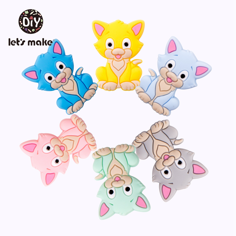 Let's Make Silicone Teether Baby Silicone Beads Cats Cartoon Shape 5pcs Nursing Teething Toys For Teeth Food Grade Baby Teethers