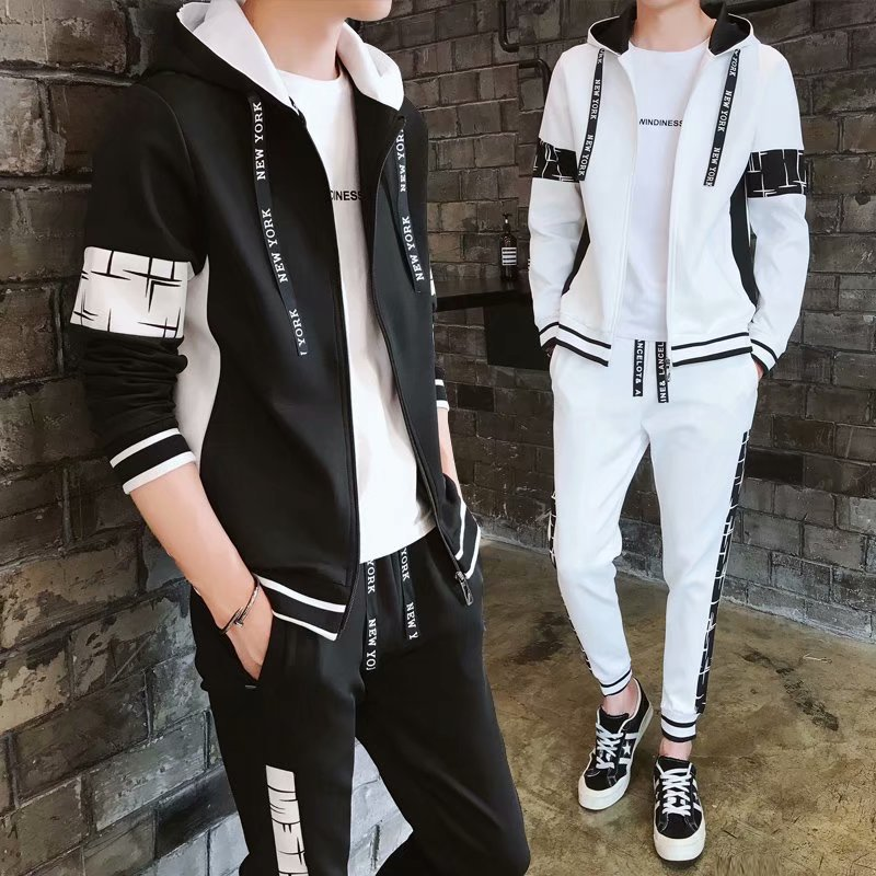 2019 Autumn New Style Students Hooded Zipper Cardigan Hoodie Suit Men's Handsome Clothes Two-Piece Set Business Attire