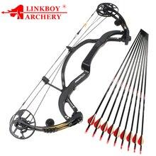 Linkboy стрельба из лука из чистого углеродного волокна соединение лук Хищник 2 поколение 50 65lbs для охоты стрельбы