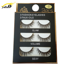 YALIAO 3 Pairs Natural False Eyelashes Makeup Tools 3D Mink Extension Beautifully Boxed For Beauty