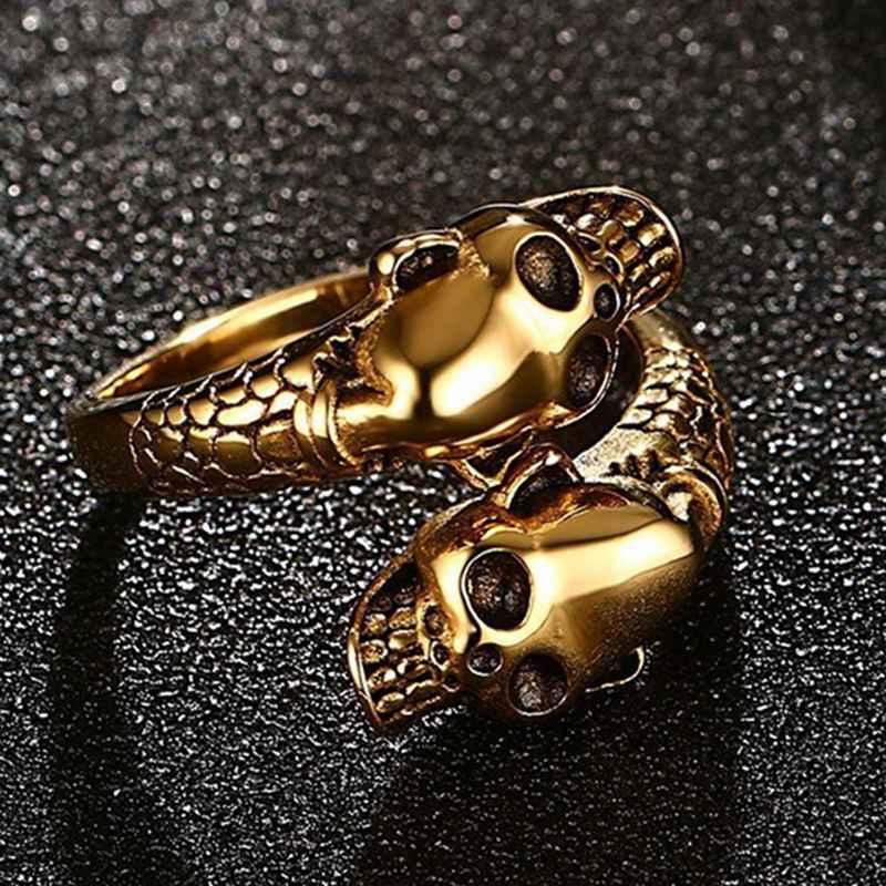 แฟชั่นสแตนเลสสตีลแหวนเปิด Punk สี Skull แหวนผู้ชายแหวน Club PARTY เครื่องประดับของขวัญ