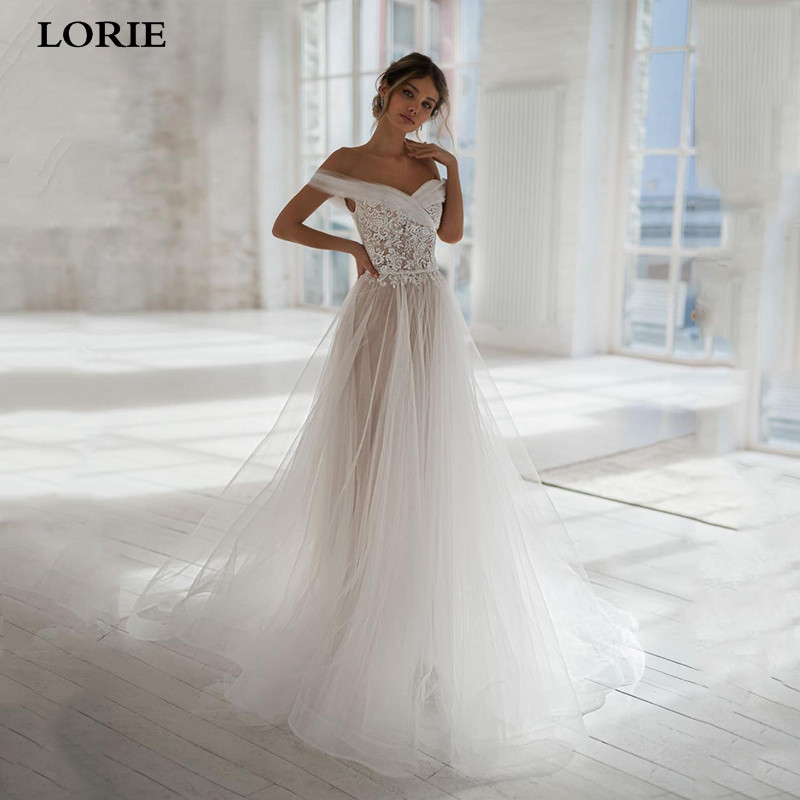 LORIE Boho A Line Lace Wedding Dresses Off The Shoulder Lace Bride Dresses With Romantic Buttons Wedding Gowns Vestidos De Novia