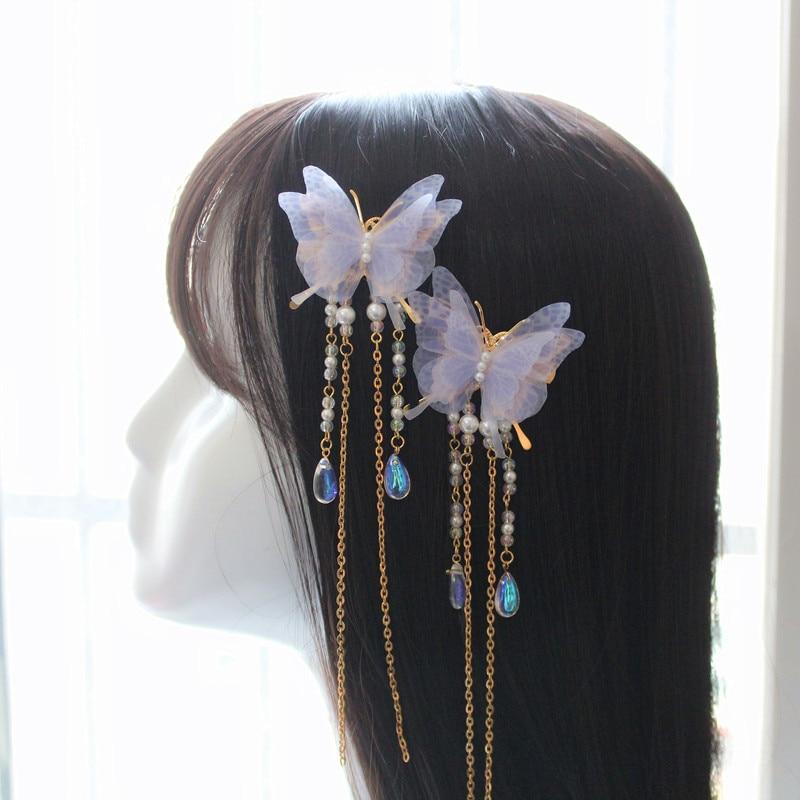 Butterfly Dream Handmade Crepe Dream Butterfly Tassel Pair Clip Hanfu Hairpin Antique Tiara Hair Accessories