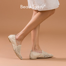 BeauToday Loafers Women Sheepskin Genuine Leather Hollow Square Toe Slip On Spring Summer Lady Casual Flat Shoes Handmade 30069