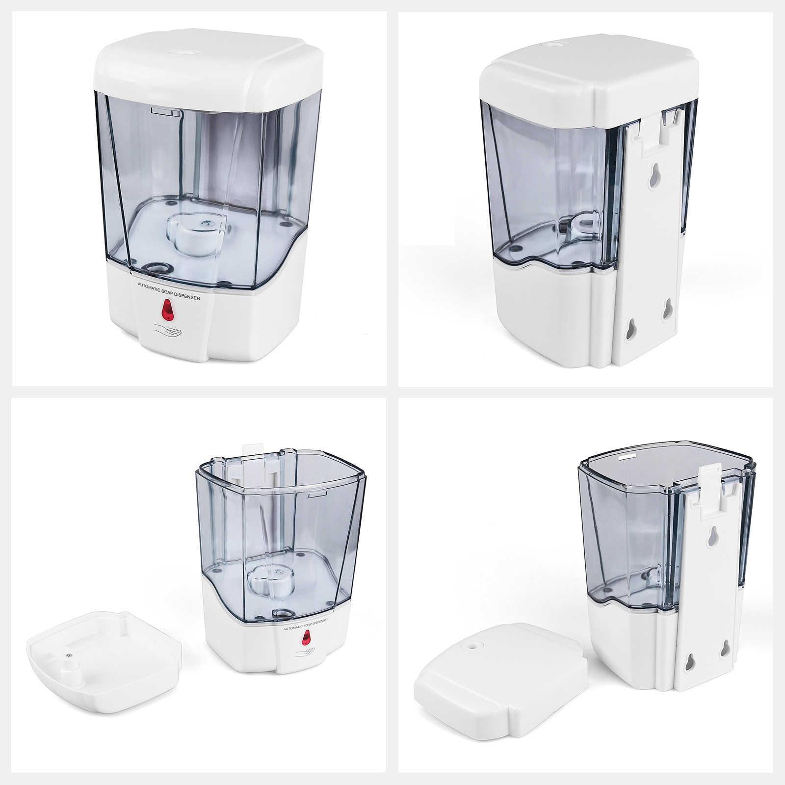 Dispensador de jabón líquido montado en la pared, de plástico, automático, con Sensor de gran capacidad para baño y cocina, 600ml/700ml