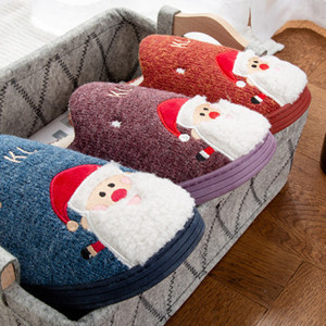Image 2 - 2019 Winter Cotton Slippers Christmas Cartoon Xmas Deer Women Shoes Lovely santa clause Home Floor Soft non slip men Slippers