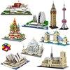 PZX-construcción de monumentos para niños, arquitectura, Notre Dame, Casa de la Ópera de París, Taj Mahal, Potala, puente, torre, 3D, Mini bloques de construcción, juguete, sin caja