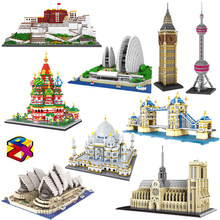 PZX Architecture Notre Dame de Paris opéra Taj Mahal Potala palais tour pont 3D Mini blocs de diamant construction jouet sans boîte