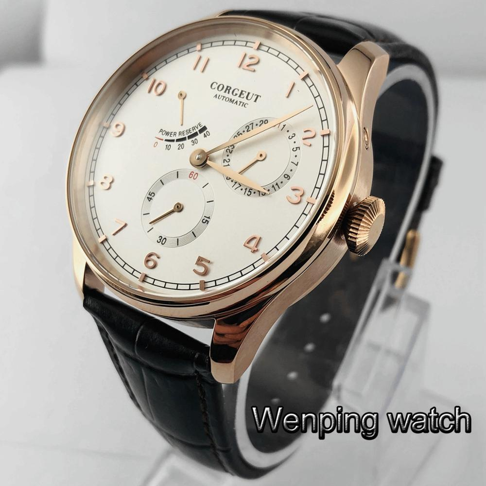 Corgeut new 42mm rose gold case sapphire glass white dial date waterproof seagull movement mens top leisure watch