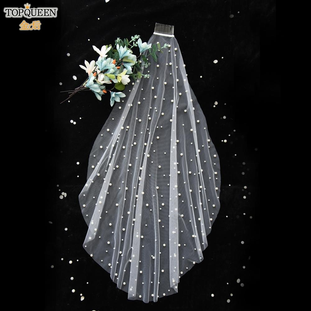 TOPQUEEN V01  Wedding Veil With Comb Wedding Veil with Pearls Bride Accessories Patry Accessory 2020 One Layer White Ivory Veil