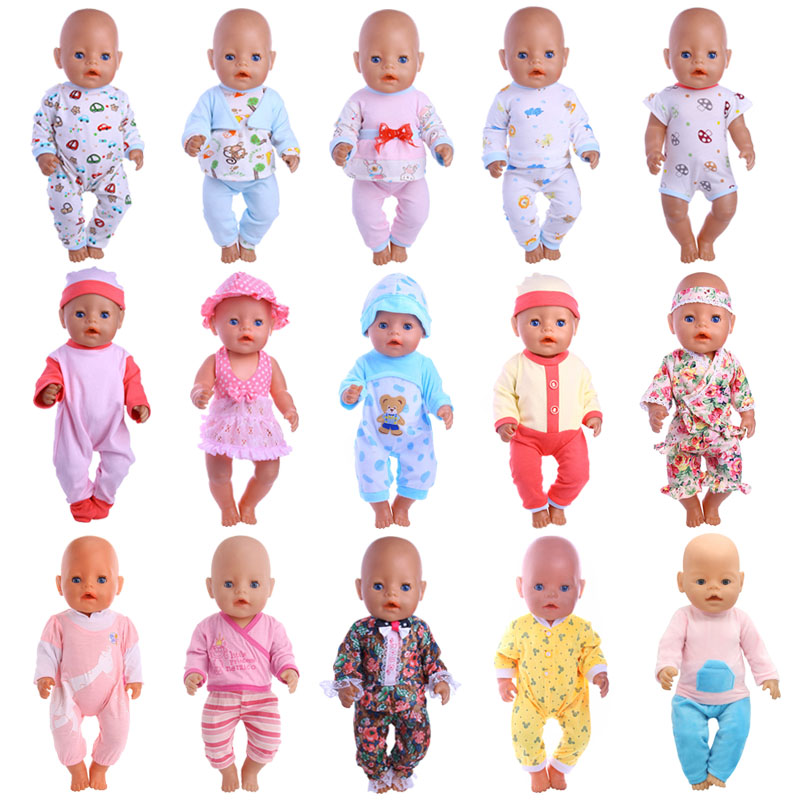 Doll Clothes Cotton Pajamas 2Pcs Nightgowns Fit 18 Inch American Doll&43 Cm Born Doll For Generation Christmas Baby Girl`s Toy