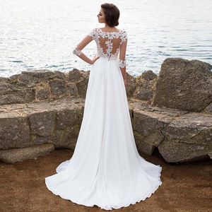 Image 4 - Beach Chiffon Wedding Dress Lace Appliques Simple Dress A line Slit Side Vestido De Novia Playa Bridal Gown vestidos de novia
