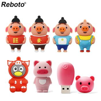 Kreskówka świnia pendrive różowy czerwony czarny niebieski śliczna świnka pamięć usb dyski 16gb 32gb 64gb флешка pamięć usb pamięć pamięć pamięć usb tanie i dobre opinie Reboto CN (pochodzenie) Reboto-USB Normalne NONE USB 2 0 Z tworzywa sztucznego