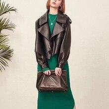 Vestes à manches longues en cuir véritable femme, pardessus court en cuir de mouton naturel, à la mode, offre spéciale