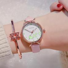 Top Brand Watches For Women Simple Leather Strap Woman Quartz Watch Creative Luminous Dial 2019 Casual Women Quartz Wristwatch guanqin women quartz watch artificial diamond dial wristwatch for women