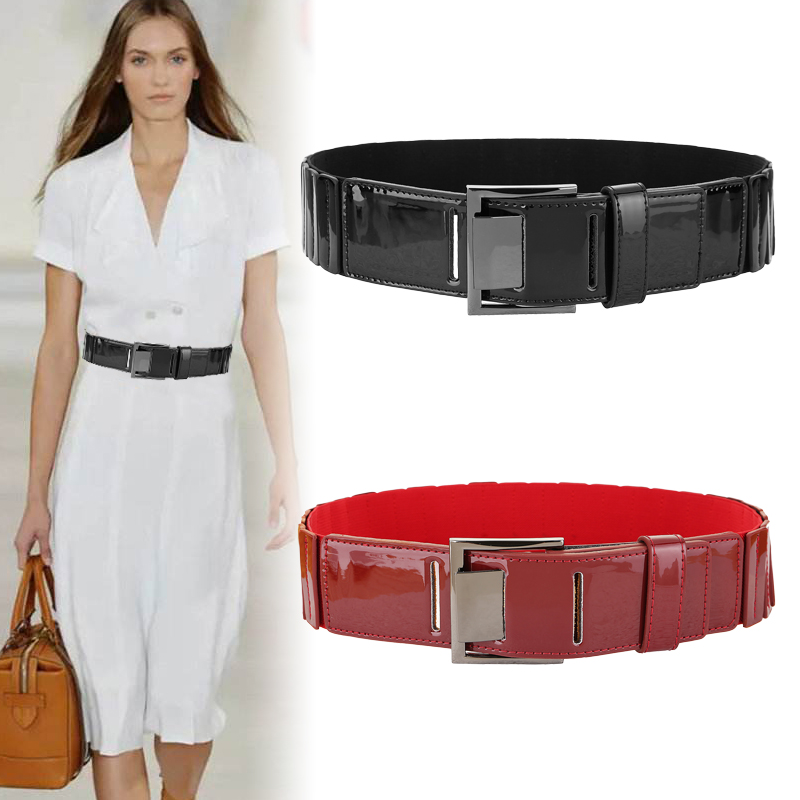 Black Cummerbunds For Women Real Leather Wide Pin Square Buckle Belts Female Genuine Cow Leather Ladies Elastic Waistband Dress