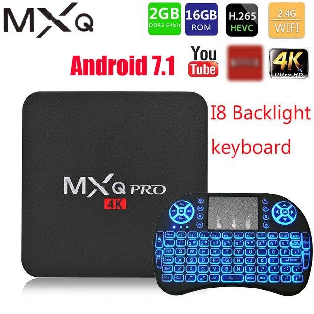 MXQ pro 4K Android 7.1 akıllı kutu 4K HD 3D 2.4G WiFi S905W dört çekirdekli medya oynatıcı akıllı tv android tv kutusu 2GB 16GB Android TV kutusu