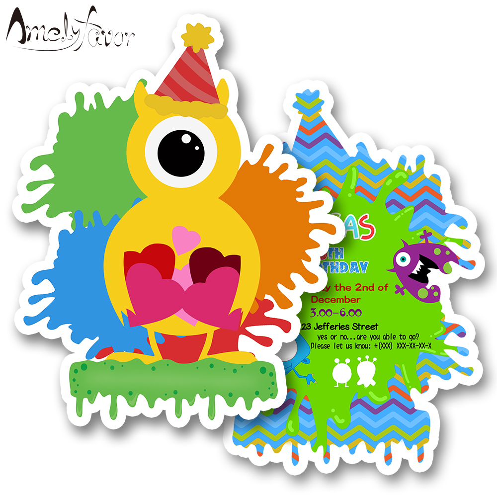 Mini Monster Theme Party <font><b>Invitation</b></font> <font><b>Card</b></font> Birthday Party Event House Moving Decorations Supplies <font><b>Blank</b></font> Custom-made <font><b>Invitations</b></font> image