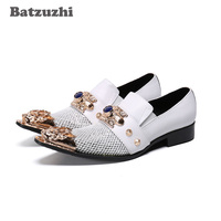 Batzuzhi Personality Men Shoes Pointed Metal Tip Leather Dress Shoes Slip on White Party & Wedding Shoes Men Zapatos Hombre!