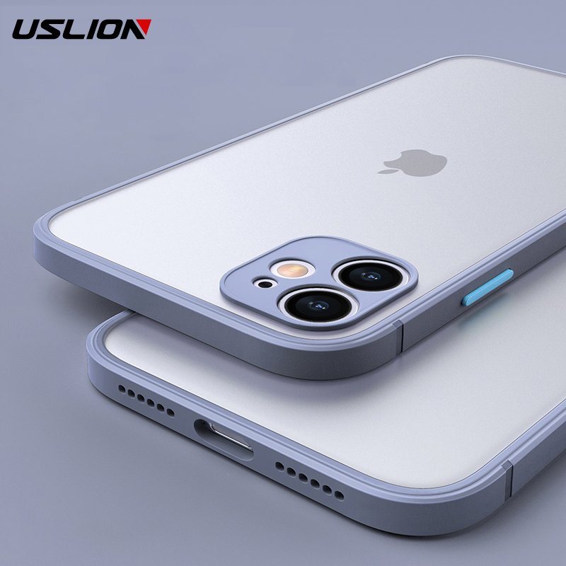 USLION Matte Clear Shockproof Phone Case For iPhone 11 Pro Max 7 8 Plus Hard PC Transparent Back Cover For iPhone X XS XR Xs Max