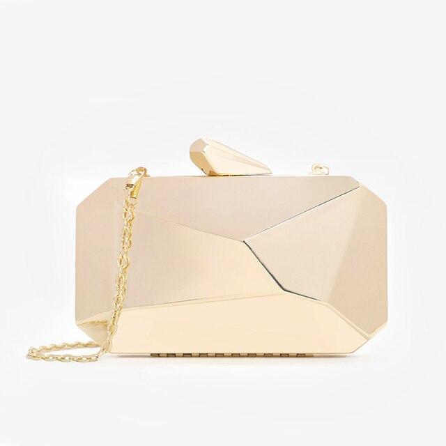 الأكريليك الذهبي صندوق هندسي حقائب مخلب مساء حقيبة أنيقة سلسلة حقيبة كتف للنساء 2020 حقيبة يد لحفل الزفاف/المواعدة/حفلة
