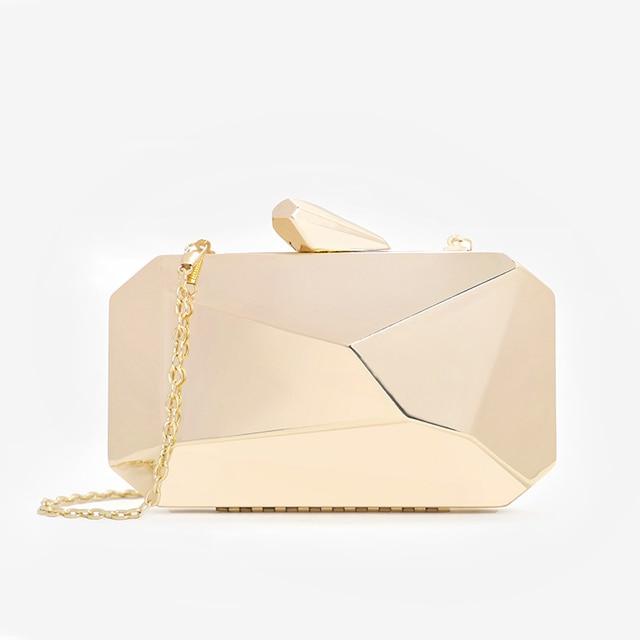 Gold Acrylic Box Geometric bags Clutch Evening Bag Elegent Chain Shoulder Bag for Women 2020 Handbag For Wedding/Dating/Party