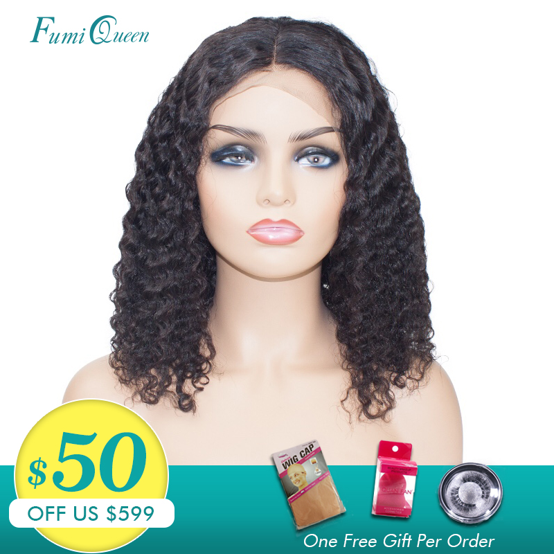 Ali Fumi Queen Short Bob Wig 13x6 Lace Front Human Hair Wigs Brazilian Water Wave 1B Color Curly Human Hair Wigs For Black Women