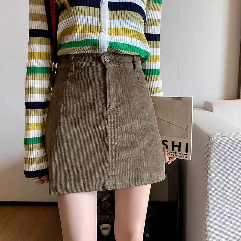 New Arrival 2019 Autumn Winter Korea Fashion Women Vintage Corduroy Skirts High Waist Slim Hip Casual A-line Black Skirt S360