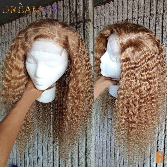 Bal sarışın kısa kıvırcık insan saçı peruk 13X6 derin kısmı dantel ön peruk ile bebek saç ön koparıp Remy renkli peruk 150% yoğunluklu
