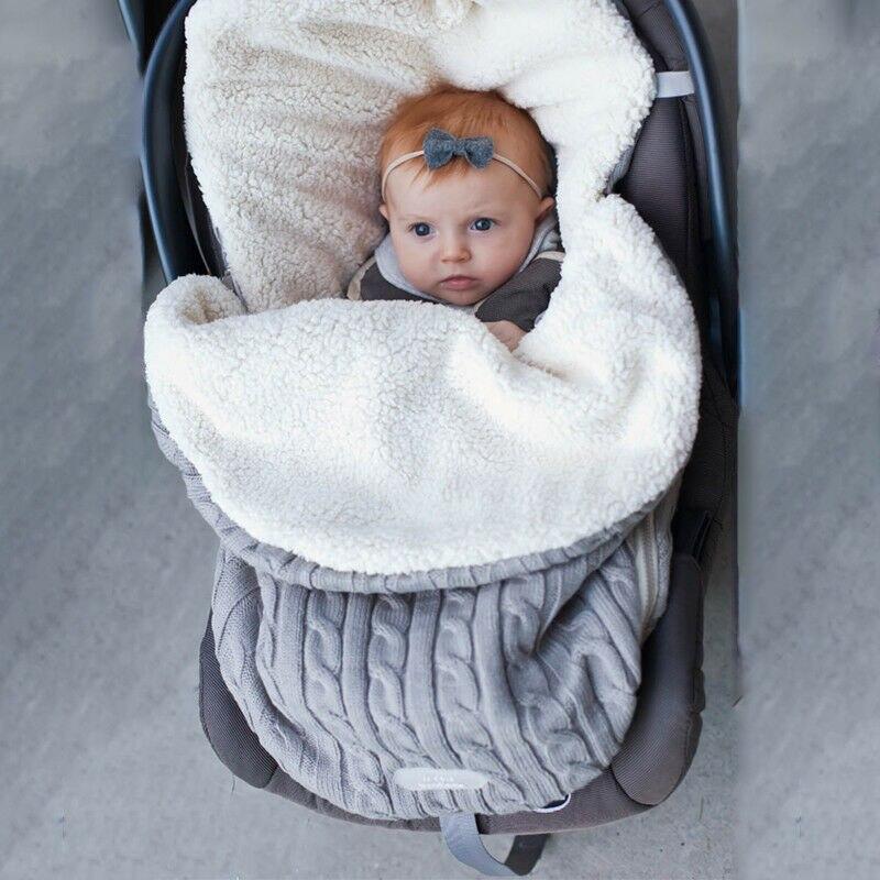 2019 Baby Sleeping Bags Baby Footmuff Liner Pushchair Stroller Buggy Pram Cosy Toes Car Seat Knitted Fuzzy Winter Warm Sleepwear