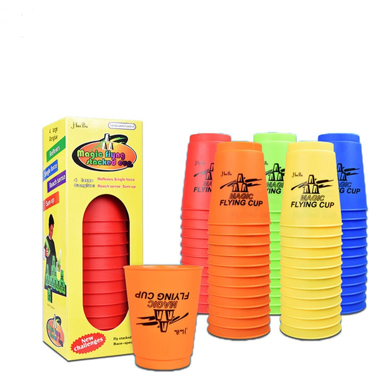 12Pcs/Set Speed Cups Game Rapid Game Sport Flying Stacking Holloween Christmas Gift Hand Speed Training Game Funny Indoor Game