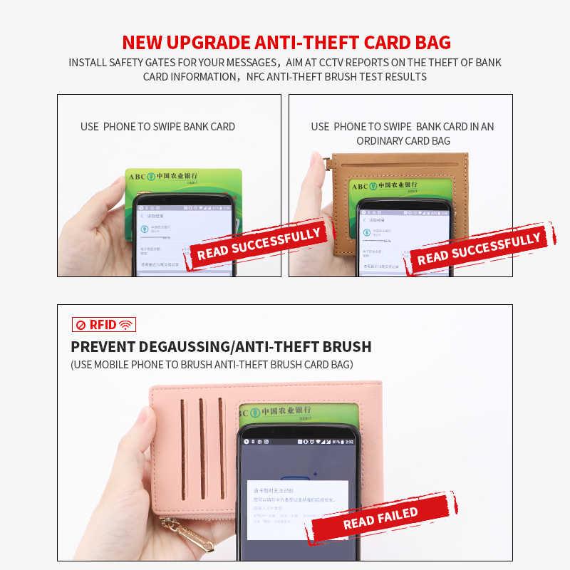 WEICHEN حامل بطاقة تتفاعل المرأة محفظة محافظ Theftproof الإناث محفظة بطاقة الائتمان السيدات حافظة للبطاقات سحاب محفظة نسائية للعملات المعدنية عالية الجودة
