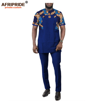 African Men Attire Dashiki Printed Shirt Suit 2 Piece Outfits Short Sleeve Blouse Sports Tribal Tracksuit AFRIPRIDE A2016003