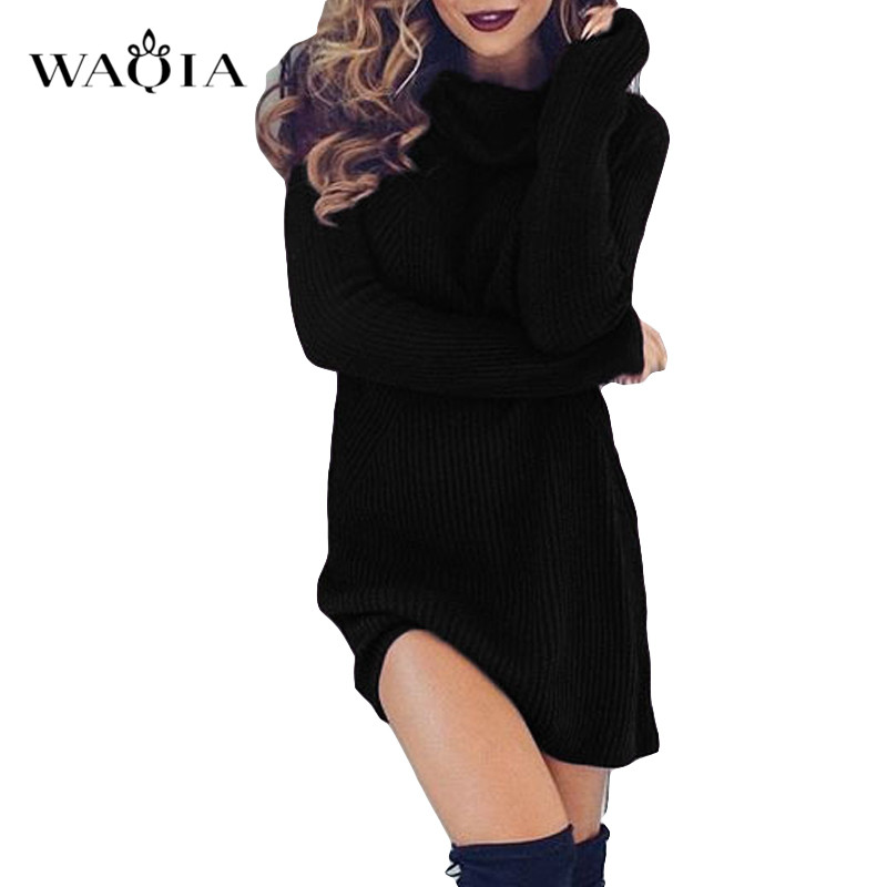 Turtleneck Sweater Dress Women 2019 Autumn Winter Long Sleeve Solid Dress Casual Dress Lady Sexy Bodycon Mini Pencil Dress