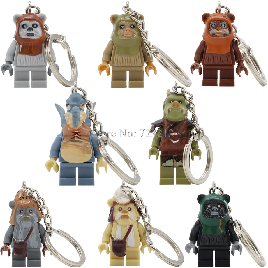 Star Wars Ewok Warrior Watto Battle Of Endor Figure Keychain Gamorrean Paploo Teebo Key Ring Building Blocks Toys Legoing