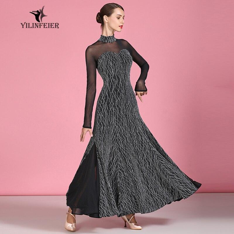 New Velvet Ballroom Dance Competition Dress Dance Ballroom Waltz Dresses Standard Dance Dress Women Ballroom Dress  1882