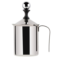 Stainless Steel Manual Milk Frother Hand Pump Creamer Double Mesh Coffee Milk Foam Frothing Pitcher Froth Foamer Cup Marker Jugs