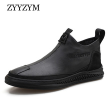 ZYYZYM Men Casual Shoes Leather All Black Flat 2019 Autumn New Man Zapatos De Hombre Formal Dress
