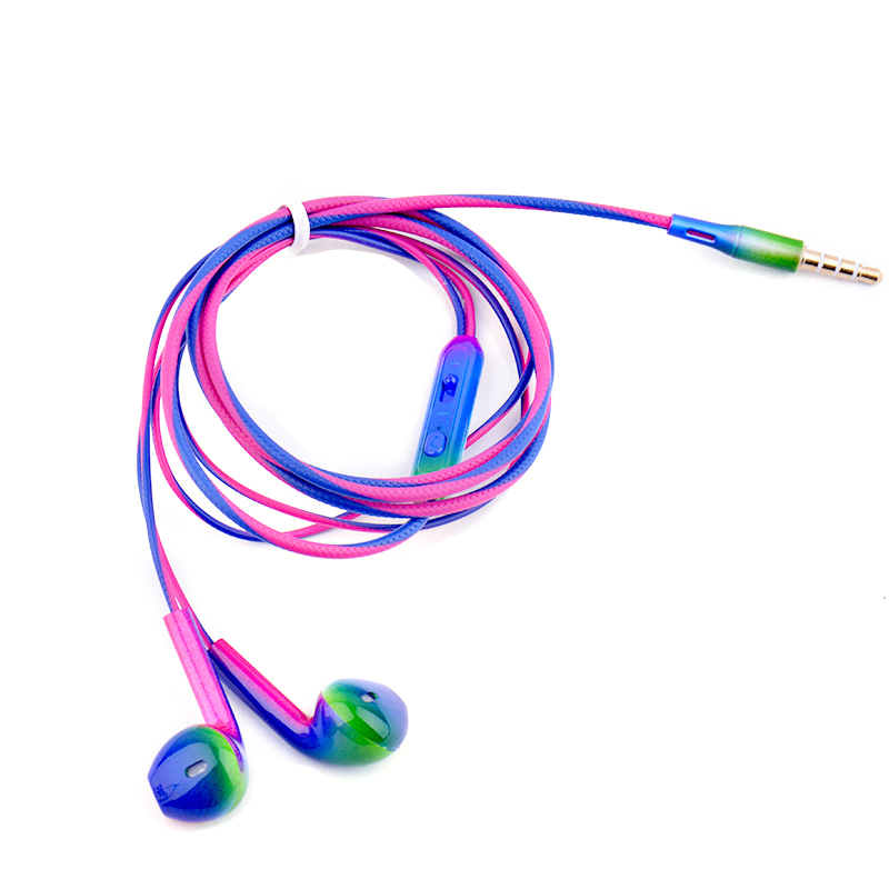 Fashion Gradient magic color Super Bass Headset 3.5mm In-Ear Earphone Noise reduction Stereo Earbuds Headphone with Wired Mic