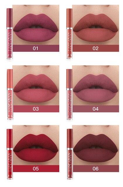 Juego de 6 lápices de labios líquidos mate, duraderos, resistentes al desgaste, antiadherentes, resistentes al agua, 6 piezas 3