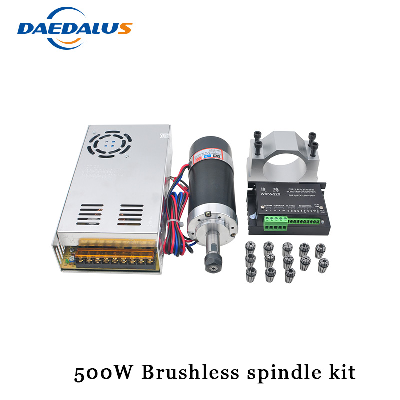 Brushless 500W CNC Spindle Motor ER11 Router Spindle 55MM Clamp Stepper Motor Driver Switching Power Supply