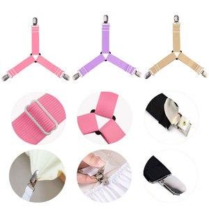 Image 2 - Clips pour draps et matelas 4 pièces, pinces pour draps et matelas, poignée au lit, support avec sangle élastique réglable