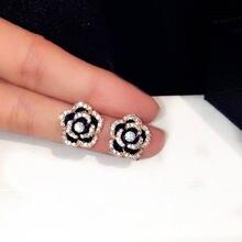 Famosa marca de flores brincos luxo boucles doreoreille jóias preto camélia brinco feminino fantasia brinco