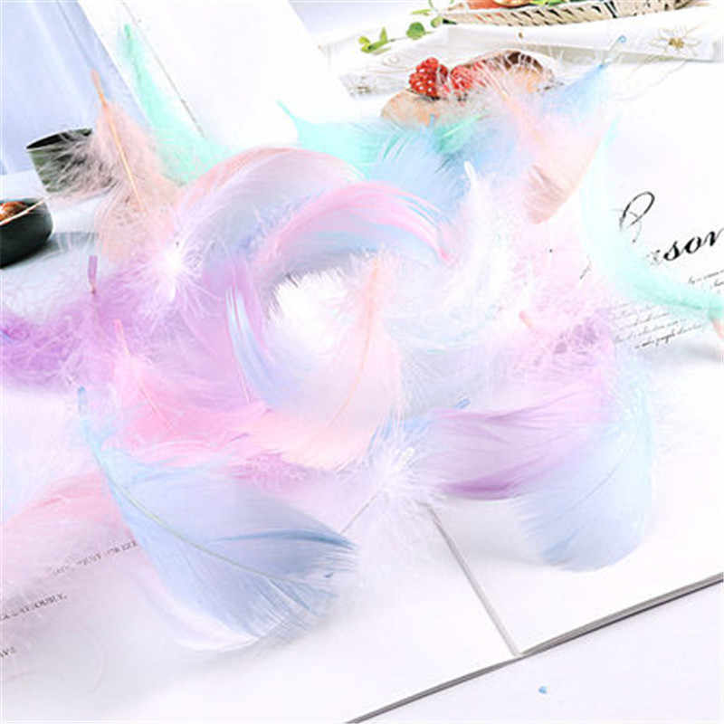 100pcs Natural Feathers 4-8cm 1-2 Inch Small Floating Goose Feather Colourful Feathers Plume for Decoration Plumes Craft