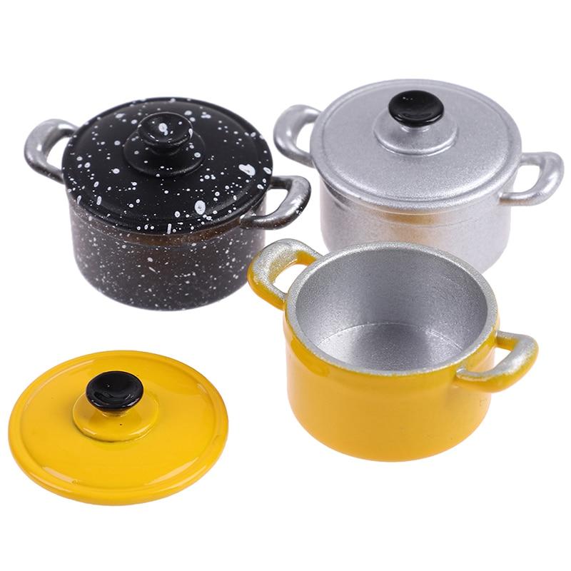 1/12 Dollhouse Miniature Accessories Mini Metal Soup Pot  Simulation Furniture Kitchenware  Model Toys For Doll House Decoration