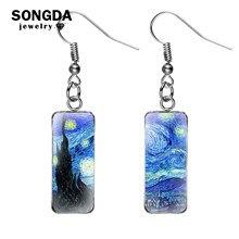 SONGDA Van Gogh peintures poisson crochet boucles d'oreilles la nuit étoilée tournesol iris verre rectangulaire balancelles boucles d'oreilles Art amoureux cadeau