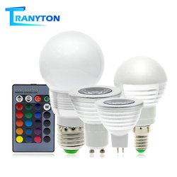Светодиодная RGB-лампа E27 E14 GU10, 110 В, 220 В, 16 цветов
