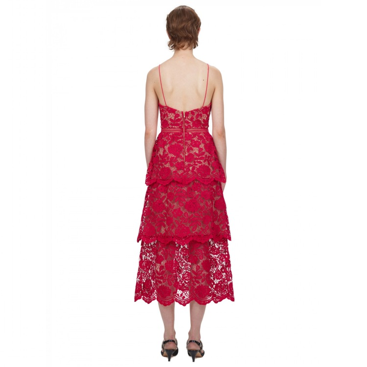 Red A-line Strap Lace Mid-calf Dress